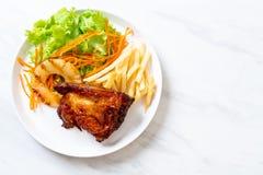 bife grelhado da galinha com vegetal foto de stock