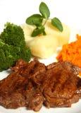 Bife grelhado do ribeye da carne com refeição de vegetais Fotografia de Stock