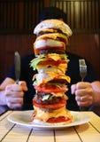 Bife hamburguês mega Imagens de Stock Royalty Free