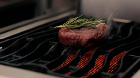 Bife que cozinha em um fim da grade acima vídeos de arquivo
