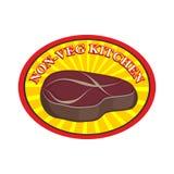 Bife Roasted da carne Logotipo para o café ou o restaurante Cozinha sem Fotografia de Stock