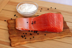 Bife Salmon com pimenta Fotos de Stock Royalty Free
