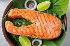 Bife salmon delicioso Imagem de Stock