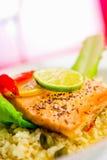Bife Salmon em Rissotto Fotografia de Stock