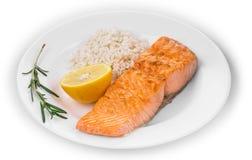 Bife salmon grelhado com arroz imagem de stock