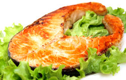 Bife salmon grelhado Succulent Fotos de Stock