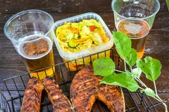Bife salmon grelhado Vidro com cerveja Salada de couve Piquenique na natureza imagem de stock
