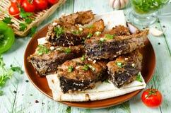 Bifes da carpa nos pães ralados e nas especiarias Fotografia de Stock