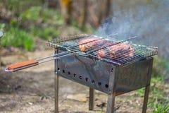 Bifes e grade da carne de porco no fogo ardente Fotografia de Stock