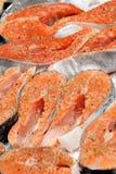 Bifes Salmon Fotografia de Stock