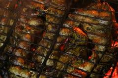 Bifes salmon grelhados em uma grade Grade da chama do fogo Cozinha do restaurante e do jardim imagem de stock royalty free