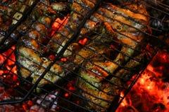 Bifes salmon grelhados em uma grade Grade da chama do fogo Cozinha do restaurante e do jardim fotografia de stock