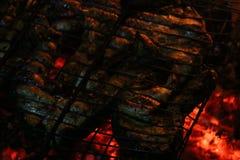 Bifes salmon grelhados em uma grade Grade da chama do fogo Cozinha do restaurante e do jardim imagens de stock royalty free