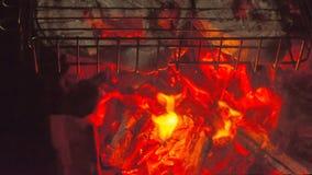 Bifes salmon grelhados no ardor imagens de stock