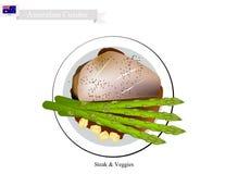 Biff & Veggies, den populära maträtten av Australien stock illustrationer
