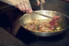 Biffköttförberedelse Royaltyfri Foto
