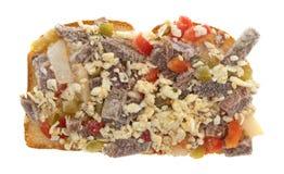 Biffost och grönsaker fryst smörgåshalva Royaltyfri Bild