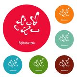 Bifidobacteria icons circle set vector. Isolated on white background Stock Photo