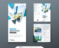 Bifold brochure design. Blue template for bi fold flyer. Layout with modern triangle photo and abstract background. Creative concept folded flyer or brochure Royalty Free Stock Photography