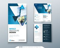 Bifold brochure design. Blue template for bi fold flyer. Layout with modern triangle photo and abstract background. Creative concept folded flyer or brochure Royalty Free Stock Image