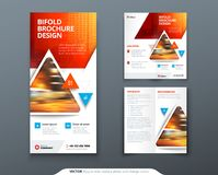 Bifold brochure design. Red, orange template for bi fold flyer. Layout with modern triangle photo and abstract. Background. Creative concept folded flyer or Royalty Free Stock Photo