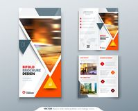 Bifold brochure design. Red, orange template for bi fold flyer. Layout with modern triangle photo and abstract. Background. Creative concept folded flyer or Royalty Free Stock Photos