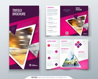 Bifold brochure design. Red, orange template for bii fold flyer. Layout with modern triangle photo and abstract. Background. Creative concept folded flyer or Royalty Free Stock Photography