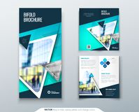 Bifold brochure design. Teal template for bi fold flyer. Layout with modern triangle photo and abstract background. Bifold brochure design. Red, orange template Stock Photography