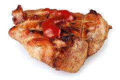 Bifteck avec l'isolat de ketchup Images stock