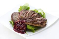 Bifteck coupé en tranches de porc Photos stock