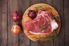 Bifteck cru de ribeye Photographie stock libre de droits