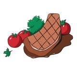 Bifteck délicieux avec des tomates-cerises et des herbes Illustration tirée par la main d'isolement sur le fond blanc illustration stock