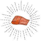 Bifteck d'image des saumons rouges de poissons dans des rayons de Sun Illustration de vecteur d'isolement sur un vintage blanc de Photos libres de droits