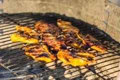 Bifteck de blanc de poulet placé sur le gril chaud Viande de BBQ sur le feu, temps d'été, partie de gril avec des amis Photos stock