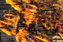 Bifteck de blanc de poulet placé sur le gril chaud Viande de BBQ sur le feu, temps d'été, partie de gril avec des amis Images stock