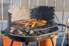Bifteck de blanc de poulet placé sur le gril chaud Viande de BBQ sur le feu, temps d'été, partie de gril avec des amis Photo libre de droits