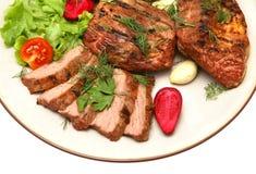 Bifteck de boeuf rôti servi Photos stock