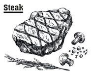 Bifteck de boeuf Viande et épices Croquis dessinés à la main Images stock