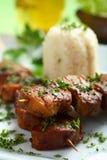 Bifteck de four avec du riz Photo libre de droits