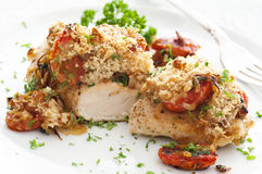 Bifteck de poulet avec le Salsa photographie stock libre de droits