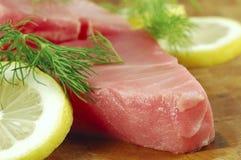 Bifteck de thon cru Photo libre de droits