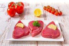 Bifteck de thon cru Image libre de droits