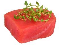 Bifteck de thon cru avec des feuilles de thym images libres de droits