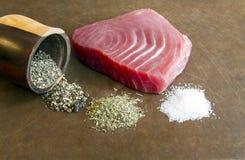 Bifteck de thon de truite saumonnée Image libre de droits