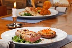 Bifteck de thon frit Images libres de droits