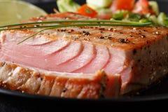 Bifteck de thon grillé avec le macro de poivre horizontal Photos libres de droits