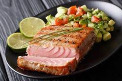 Bifteck de thon mexicain avec le plan rapproché de Salsa de concombre d'avocat horizont Photographie stock libre de droits