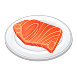 Bifteck de viande dans l'illustration d'isolement par plat Images libres de droits