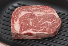 Bifteck de Wagwu dans la casserole de gril Photographie stock