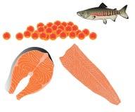 Bifteck et filet des saumons, caviar Image stock